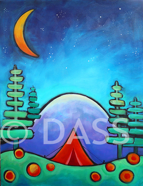 Mountain, Stars and Trees is All I Need - Red Tent Series - Colorful Animal, Aviation, whimsical, Airstream, Quotes Art Kids, Pediatrics, Happy Art