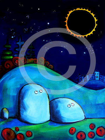 Rocks Gazing at Solar Eclipse - Colorful Animal, Aviation, whimsical, Airstream, Quotes Art Kids, Pediatrics, Happy Art