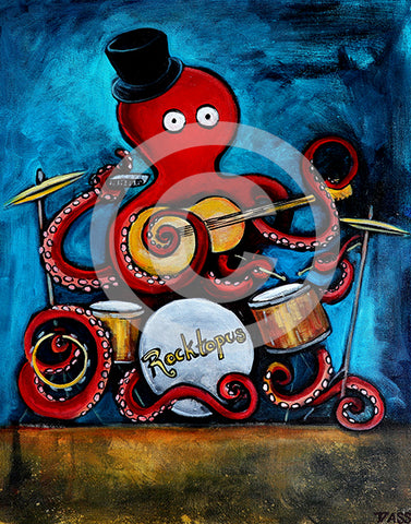 Rocktopus Octopus Musician Art - Colorful Animal, Aviation, whimsical, Airstream, Quotes Art Kids, Pediatrics, Happy Art
