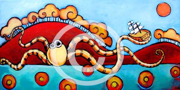 Seapals Octopus - Colorful Animal, Aviation, whimsical, Airstream, Quotes Art Kids, Pediatrics, Happy Art