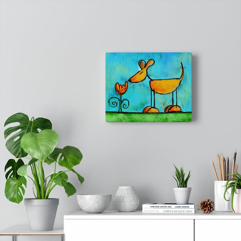 The Small Moments of Joy Dog Sniffing Flower Canvas Gallery Wraps