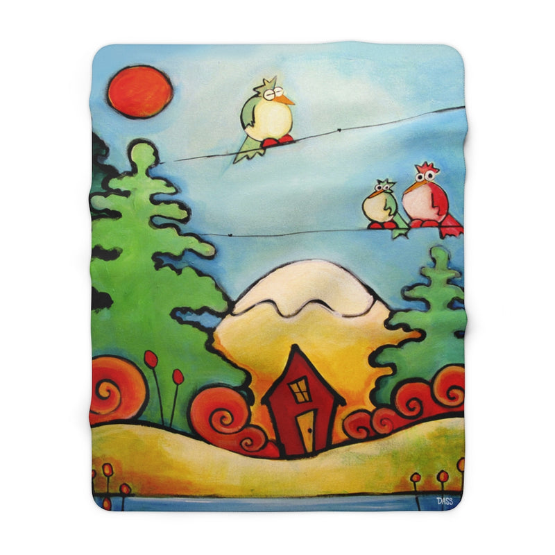 Lazy Birds in Woods with Cabin Sherpa Fleece Blanket