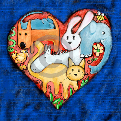 Love All Animals - Colorful Animal, Aviation, whimsical, Airstream, Quotes Art Kids, Pediatrics, Happy Art