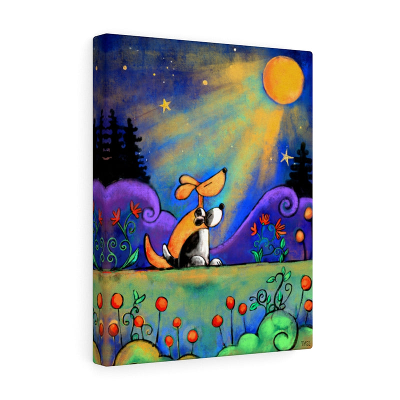 No Place I Would Rather Be Than Here With You (Dogs looking at moon) Canvas Gallery Wraps