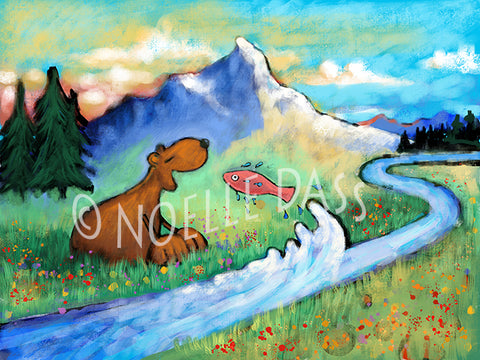 A Meditation on Perspective (Bear and Fish Version 2) - Colorful Animal, Aviation, whimsical, Airstream, Quotes Art Kids, Pediatrics, Happy Art