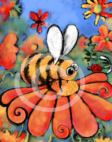 A Bee's Day Out - Colorful Animal, Aviation, whimsical, Airstream, Quotes Art Kids, Pediatrics, Happy Art