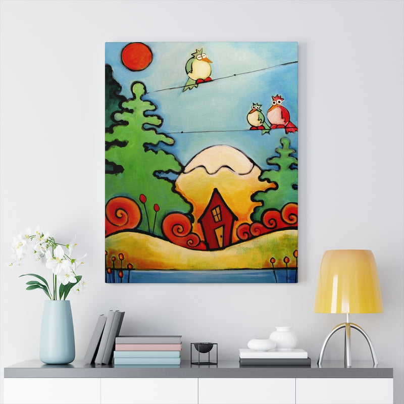 Lazy Birds with Cabin in the Woods Canvas Gallery Wraps