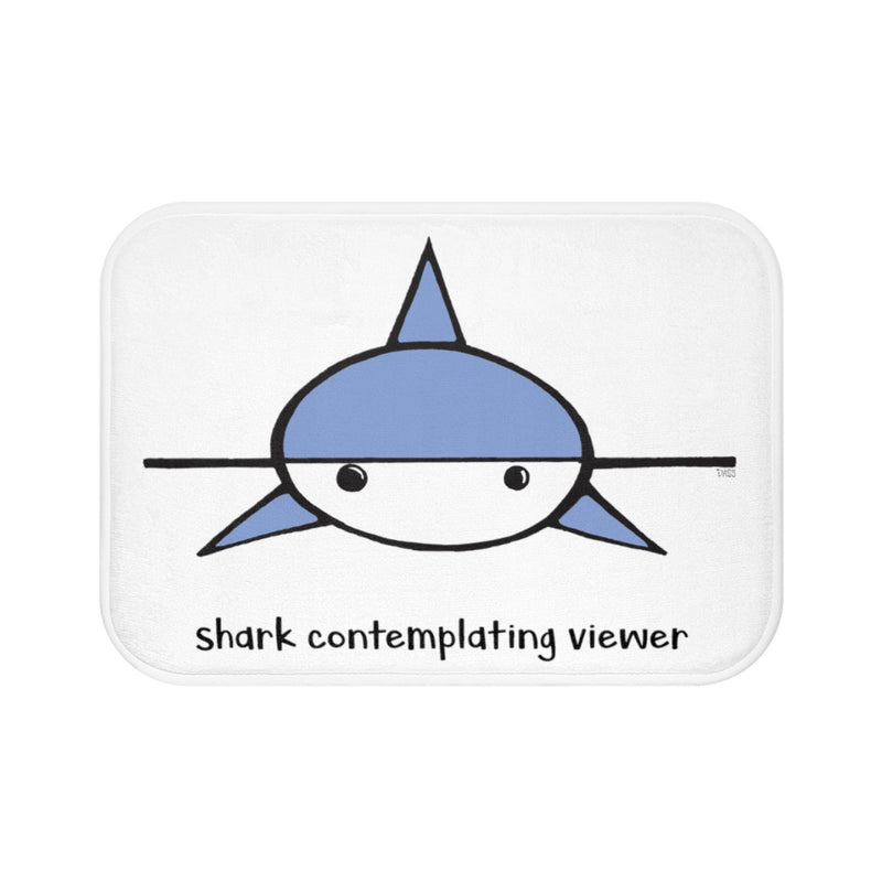 Shark Contemplating Viewer White Plush Bath Mat