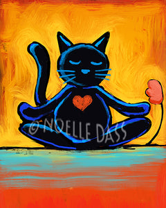 Cat Zen - Colorful Animal, Aviation, whimsical, Airstream, Quotes Art Kids, Pediatrics, Happy Art
