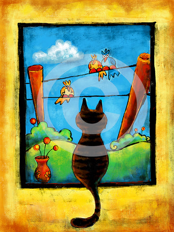Staring Contest (Cat and Bird art) - Colorful Animal, Aviation, whimsical, Airstream, Quotes Art Kids, Pediatrics, Happy Art