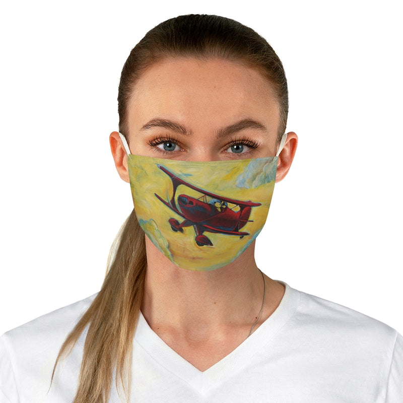 Pilot Dog Fun in the Sky Pitts Biplane Fabric Face Mask