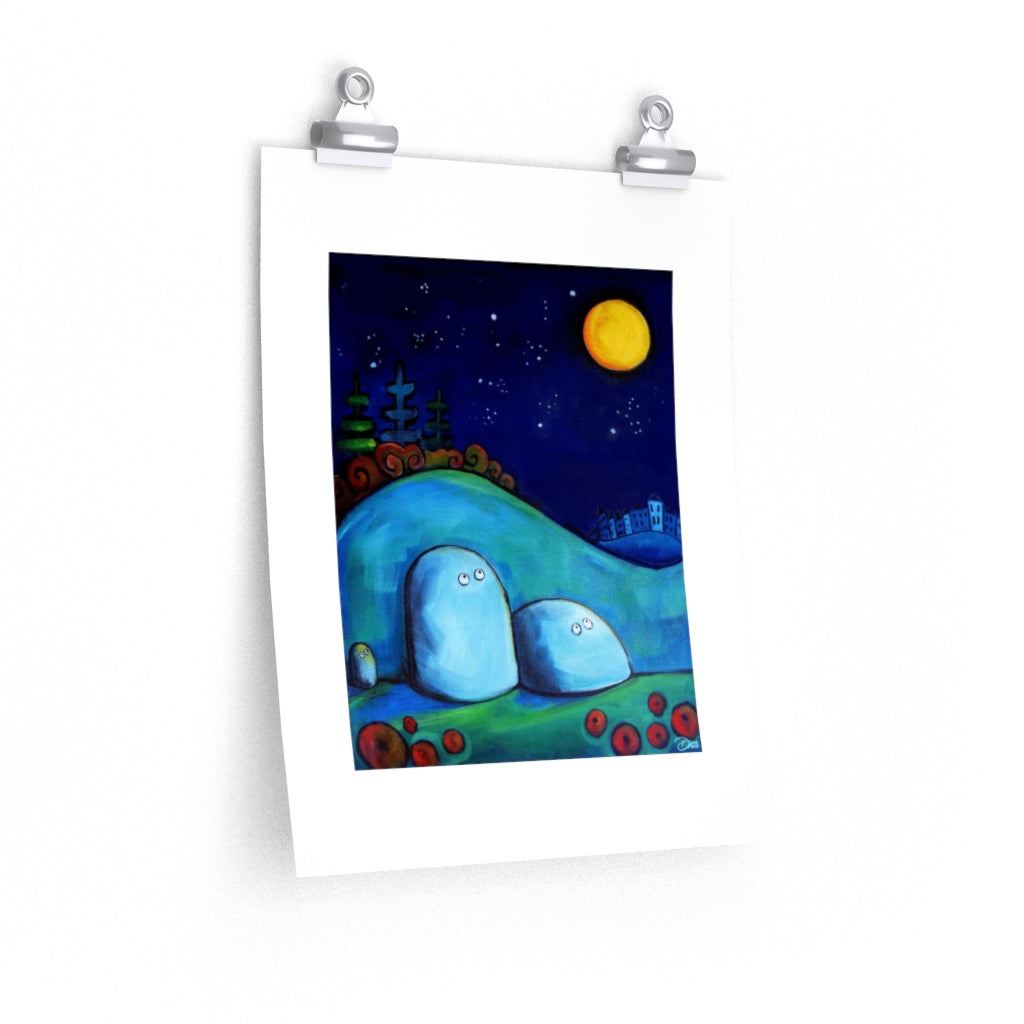 Rocks Gazing at Moon Print on Enhanced Art Paper - Colorful Animal, Aviation, whimsical, Airstream, Quotes Art Kids, Pediatrics, Happy Art