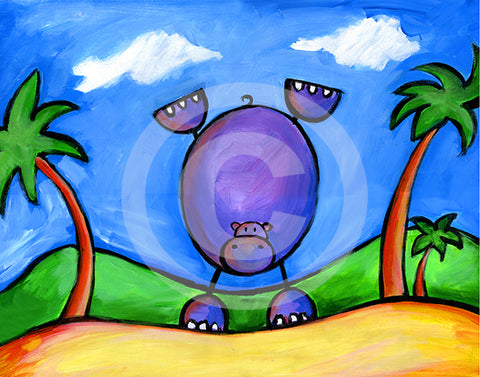 Hippo Doing Handstand on the Beach - Colorful Animal, Aviation, whimsical, Airstream, Quotes Art Kids, Pediatrics, Happy Art