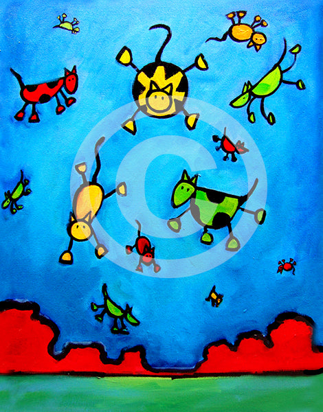 Partly Cloudy with a chance of Cats and Dogs - Colorful Animal, Aviation, whimsical, Airstream, Quotes Art Kids, Pediatrics, Happy Art