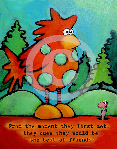 Chicken and Worm Best Friends - Colorful Animal, Aviation, whimsical, Airstream, Quotes Art Kids, Pediatrics, Happy Art