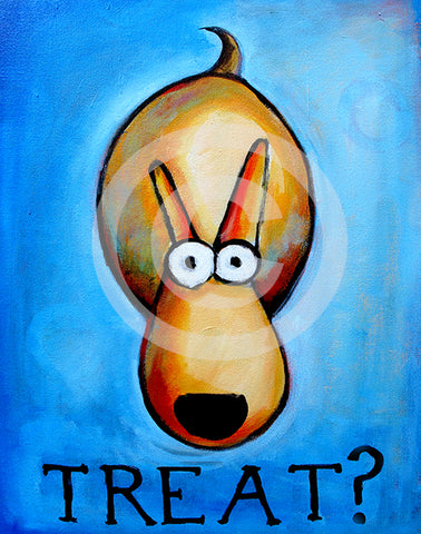 Treat?! Dog art - Colorful Animal, Aviation, whimsical, Airstream, Quotes Art Kids, Pediatrics, Happy Art