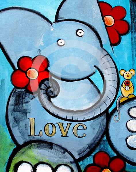 Elephant Love - Colorful Animal, Aviation, whimsical, Airstream, Quotes Art Kids, Pediatrics, Happy Art