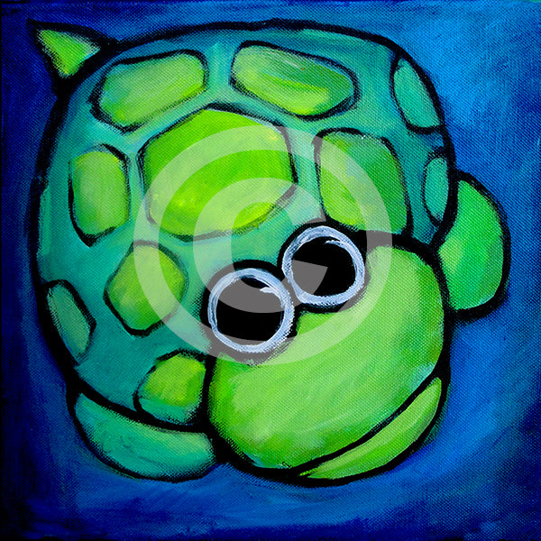 Turtle Gazing at Moon - Colorful Animal, Aviation, whimsical, Airstream, Quotes Art Kids, Pediatrics, Happy Art