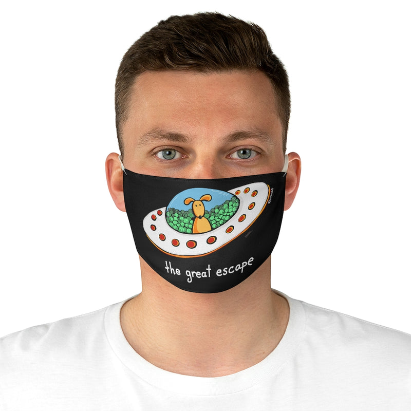 The Great Escape Dog in Ufo Fabric Face Mask