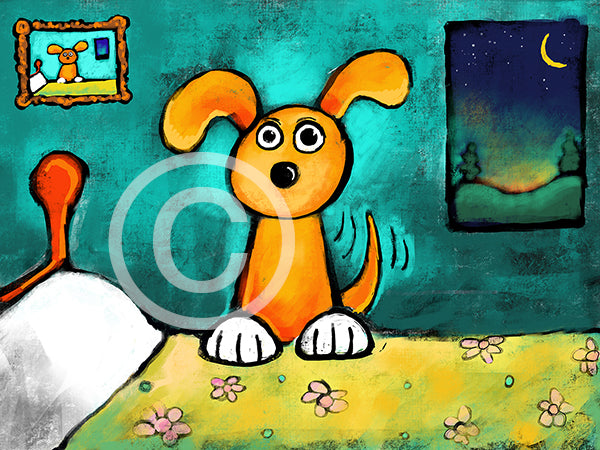 Who Needs an Alarm Clock? Dog Version - Colorful Animal, Aviation, whimsical, Airstream, Quotes Art Kids, Pediatrics, Happy Art