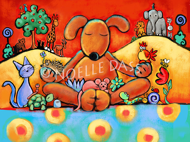 The Doggie Lama - Colorful Animal, Aviation, whimsical, Airstream, Quotes Art Kids, Pediatrics, Happy Art