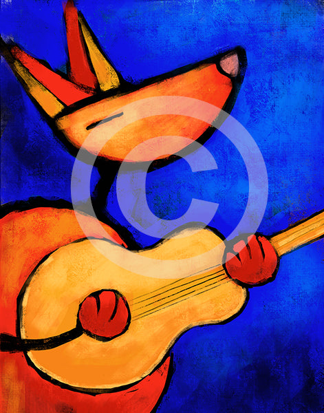 Dog Playing Guitar - Colorful Animal, Aviation, whimsical, Airstream, Quotes Art Kids, Pediatrics, Happy Art