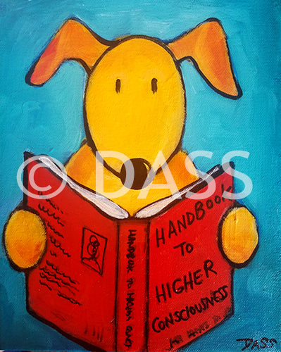 Dog Reading Handbook to Higher Consciousness - Colorful Animal, Aviation, whimsical, Airstream, Quotes Art Kids, Pediatrics, Happy Art