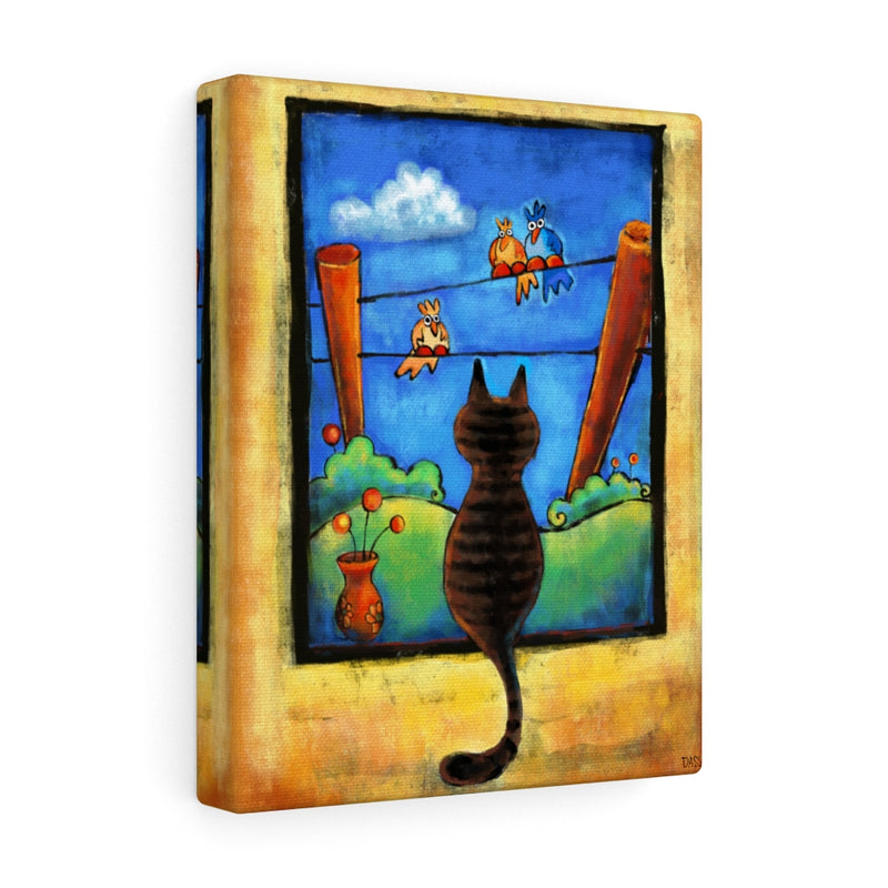 Staring Contest (Cat and Birds) Canvas Gallery Wraps