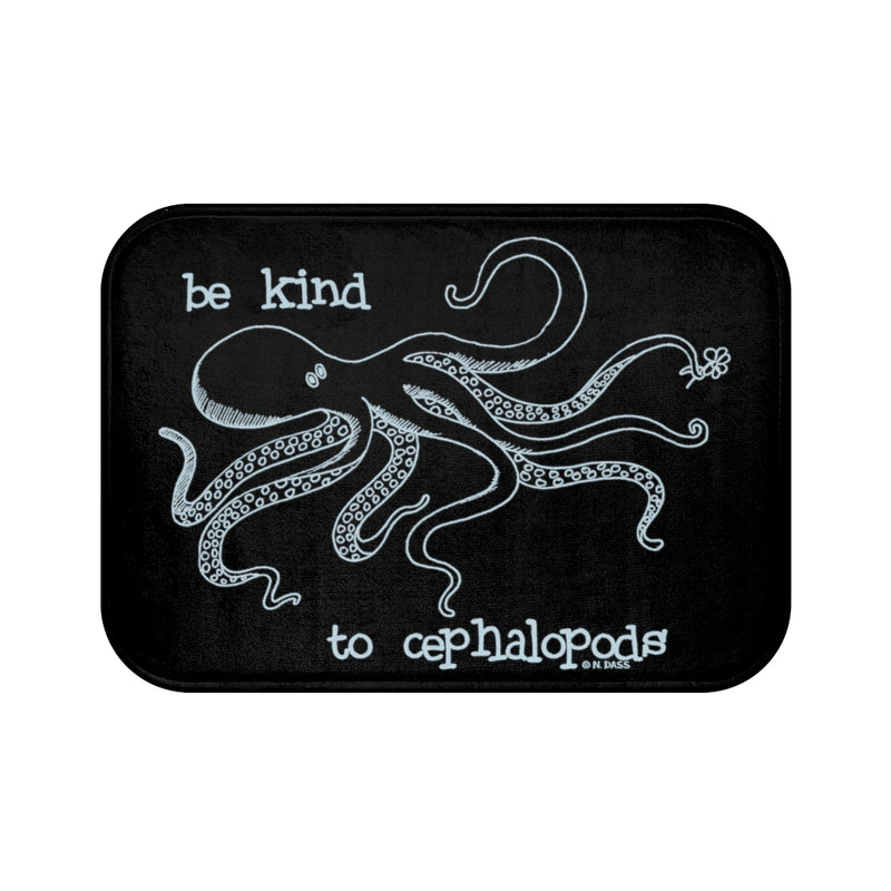 Be Kind to Cephalopods (Octopus) Black Plush Bath Mat