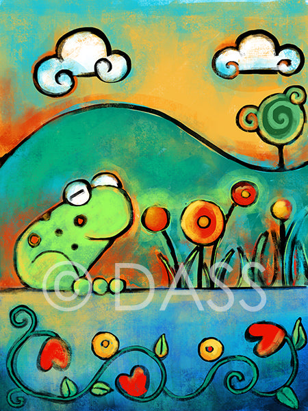 Frog in the Spring - Colorful Animal, Aviation, whimsical, Airstream, Quotes Art Kids, Pediatrics, Happy Art