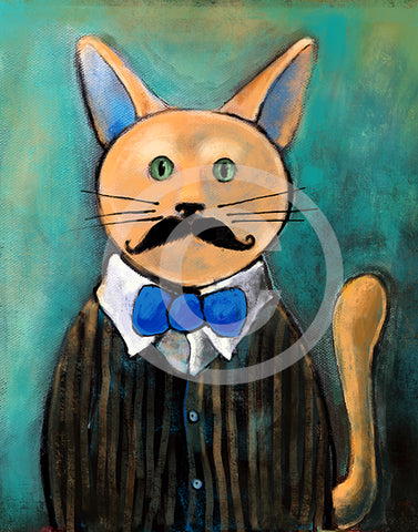 Hipster Cat - Colorful Animal, Aviation, whimsical, Airstream, Quotes Art Kids, Pediatrics, Happy Art