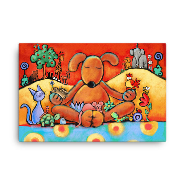 The Doggie Lama Canvas - Colorful Animal, Aviation, whimsical, Airstream, Quotes Art Kids, Pediatrics, Happy Art
