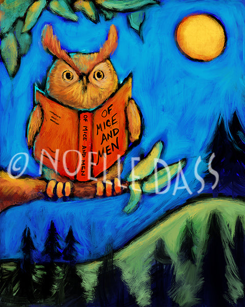 Owl Reading Of Mice and Men - Colorful Animal, Aviation, whimsical, Airstream, Quotes Art Kids, Pediatrics, Happy Art