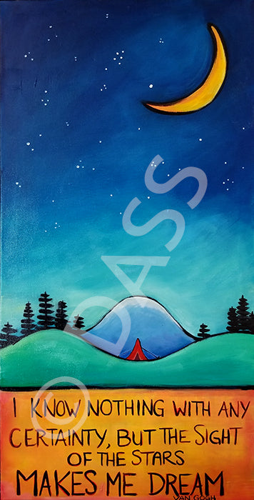 Red Tent Stars Make Me Dream Original SOLD prints available