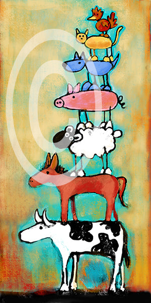 Totem Animal Love Tower - Colorful Animal, Aviation, whimsical, Airstream, Quotes Art Kids, Pediatrics, Happy Art