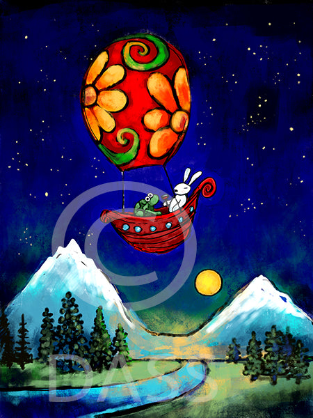 Rewrite Your Story Rabbit and Turtle in Hot Air Balloon - Colorful Animal, Aviation, whimsical, Airstream, Quotes Art Kids, Pediatrics, Happy Art