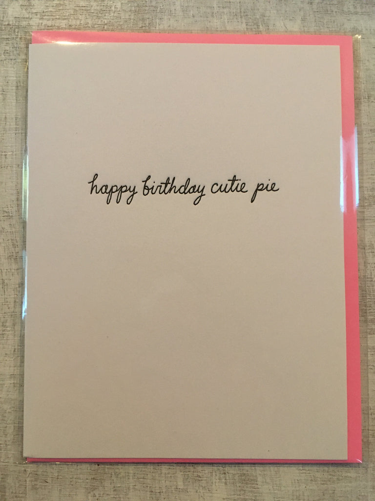 Card: happy birthday cutie pie