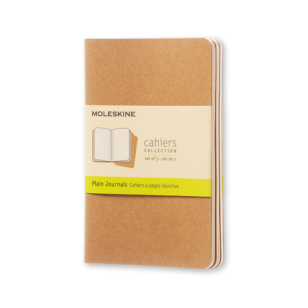 Moleskine Notebook: Cahiers Collection 3-Pack Soft Cover Pocket PLAIN (Various Colors)