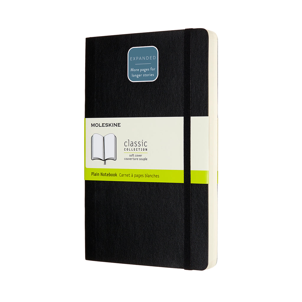 Moleskine Notebook: Classic Collection Soft Cover Large Expanded PLAIN (Various Colors)