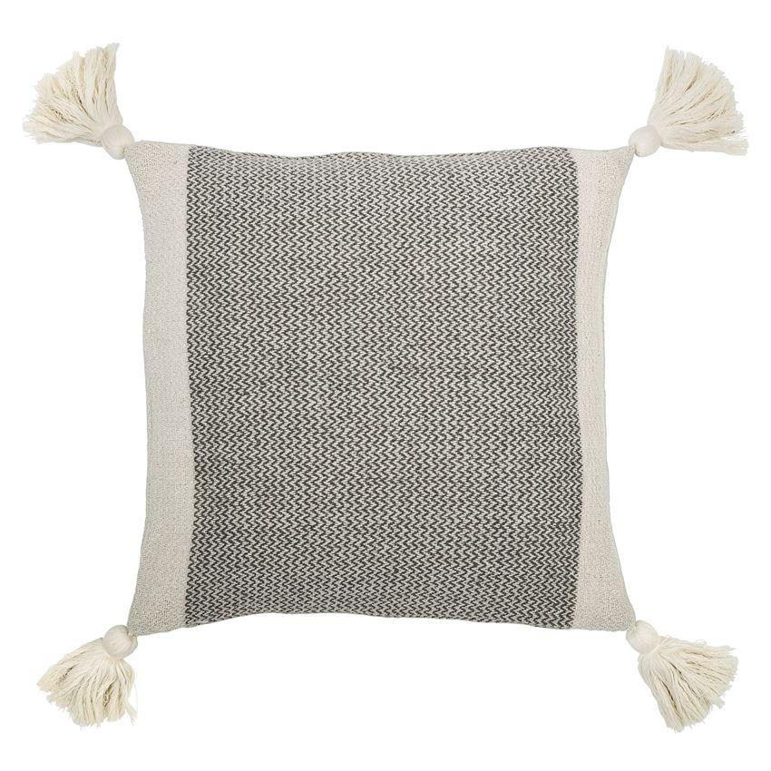 Gray Tassel Throw Pillow
