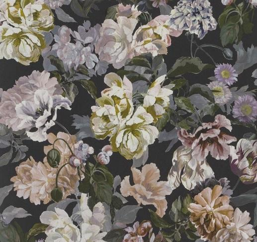 Black and Multi Floral Wallpaper