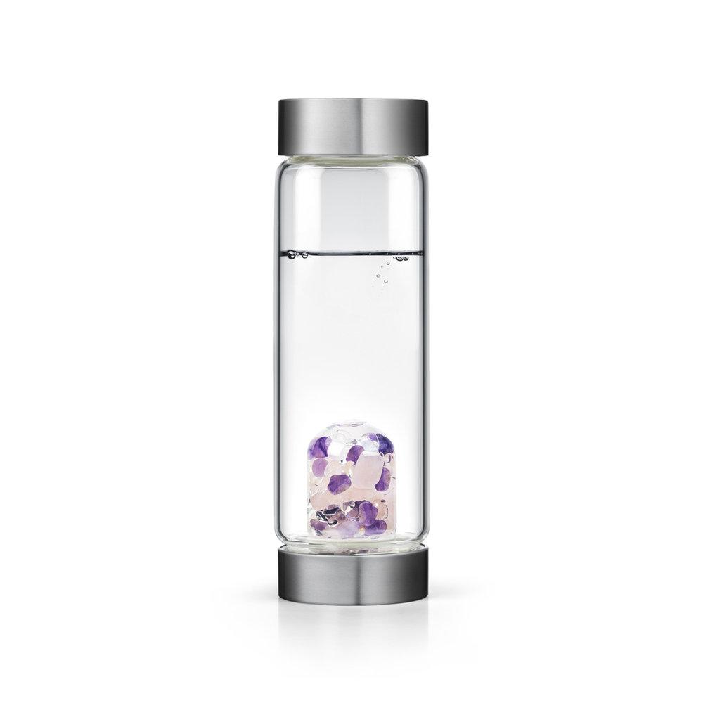 Wellness Bottle: Contains Rose Quartz, Amethyst and Clear Quartz. This blend is said to stimulate and soothe the mind and emotions, foster tranquility, and support healthy and radiant skin.