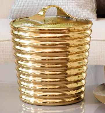 Gold Ribbed Ice Bucket