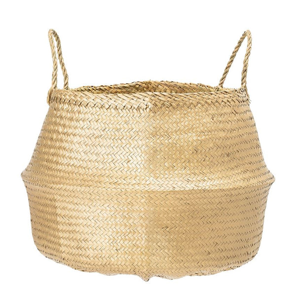 Gold Seagrass Basket w/ Handles