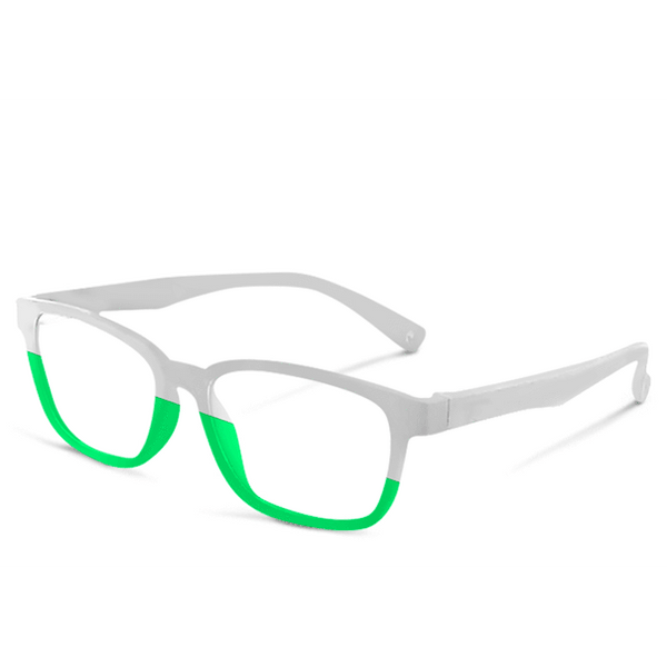 Blue Light Kids Green & White FunFlex Gradientz Green & White Blue Light Blockers (Ages 3-9) Blue Light Glasses for Kids