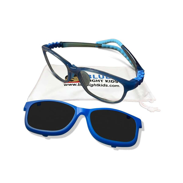 SafetyFlex 2-in-1 Blue Light Blockers with Sunglasses Clip-On (Ages 8 and Up) (Ultra Flexible Design)