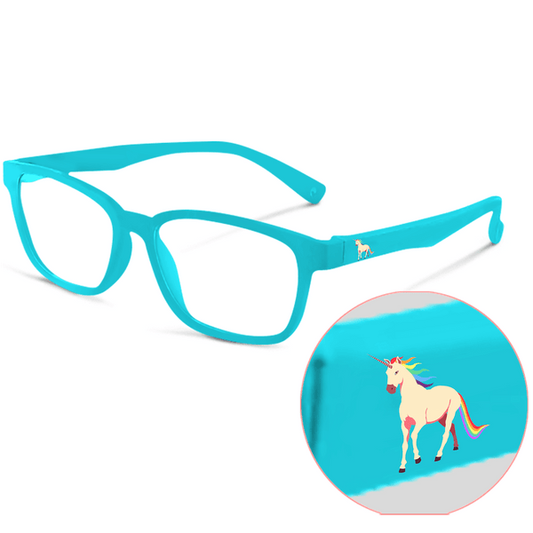 Blue Light Kids Premium FunFlex New Release Light Blue Unicorn (Ages 3-9) Blue Light Glasses for Kids