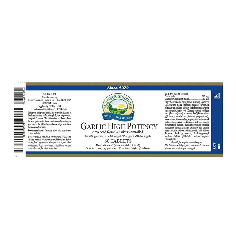 Nature's Sunshine Garlic - High Potency (60 tablets)