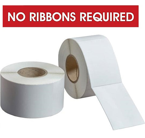 "DIRECT THERMAL LABELS 8"" OD 3"" CORES - NO RIBBON REQUIRED"