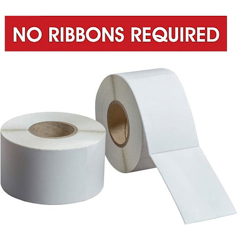 "DIRECT THERMAL LABELS ROLLED - COATED - 2"" OD 3/4"" CORE (Black Sensor Bar) - NO RIBBON REQUIRED"